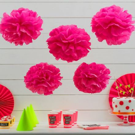 Bright Pink Tissue Paper Pom Poms - pack of 5